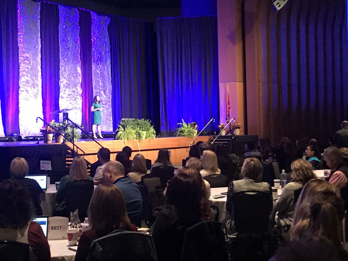 Penny Schwinn speaks to about 1,500 school administrators during the education department's annual LEAD conference. (Photo by Marta W. Aldrich/Chalkbeat)