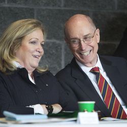 Joan Fenton, of the Sorenson Legacy Foundation, and President Henry B. Eyring, first counselor in the First Presidency of the Church of Jesus Christ of Latter-day Saints, share a laugh before President Eyring dedicated the Thomas S. Monson Lodge at the Hinckley Scout Ranch in the Uinta Mountains on Wednesday, Oct. 5, 2016.