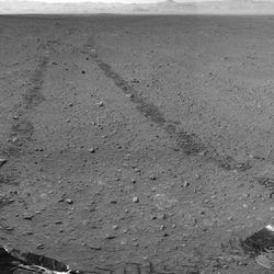 This handout photo provided by NASA/JPL-Caltech shows the surroundings of the location where NASA Mars rover Curiosity arrived on Sept. 4, 2012.