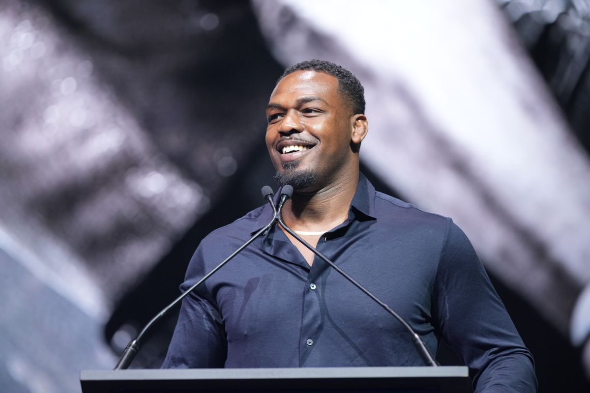 Jon Jones at a UFC Hall of Fame ceremony in 2021.