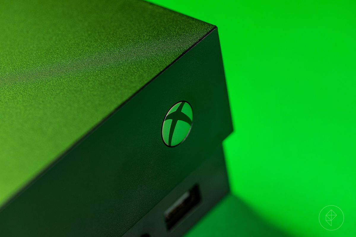 close-up of Xbox power button on Xbox One X