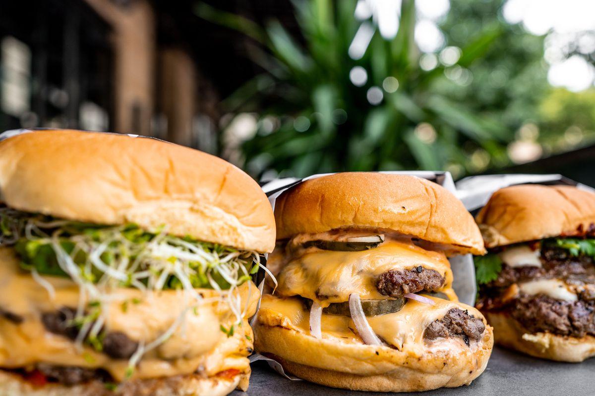 From left, an Avocado Smash, a ghostburger, and la Hamburguesa
