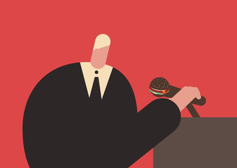 Illustration of a person in a suit holding a microphone that looks like a burger.