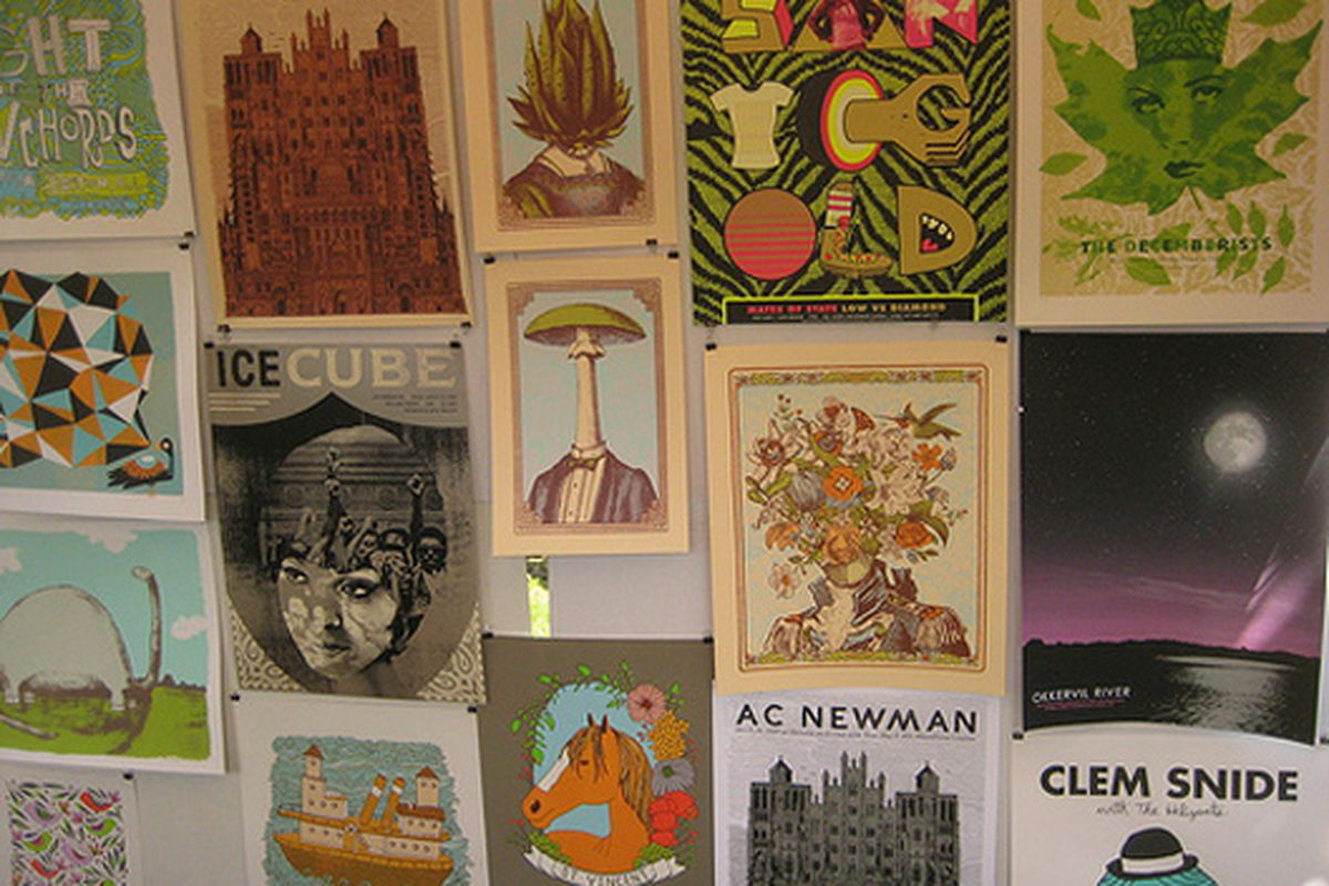 """Art by Nate Duval and Jen Skelley at the Brooklyn event. Image via <a href=""""http://www.flickr.com/photos/renegadecraftfair/3616695011/in/set-72157619520677867/"""">renegadecraftfair</a>/Flickr"""
