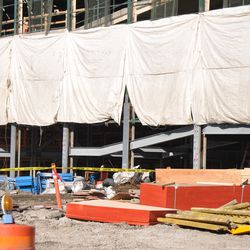 Some uncovered panels on the west side of the ballpark -