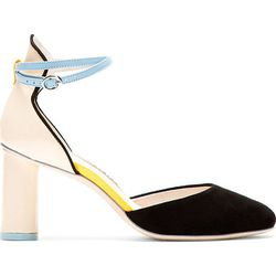 """<b>Sophia Webster</b>, <a href=""""https://www.ssense.com/women/product/sophia_webster/beige-black-d-orsay-nika-heels/104419"""">$276</a> (from $460)"""