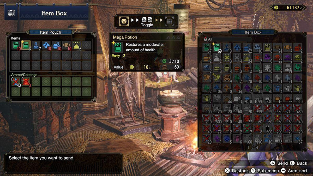 The item box in Monster Hunter Rise
