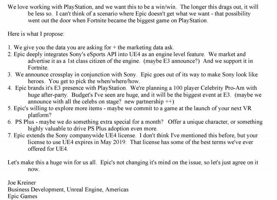 Email da Epic Games para Sony.