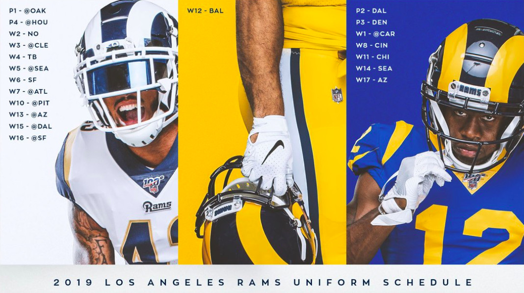 check out e1596 88e8c The Los Angeles Rams 2019 uniform schedule is released ...