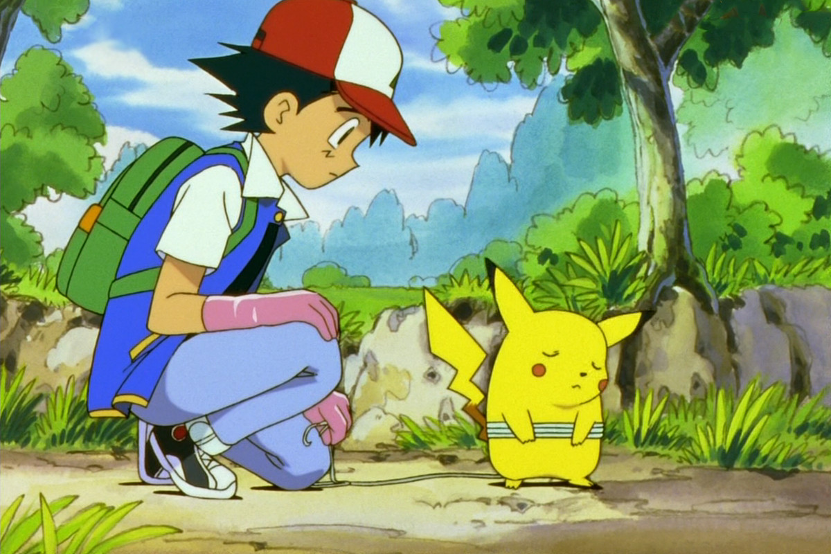 Ash and Pikachu from the first episode of the Pokémon anime
