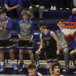 Orem battles Brighton in a second round boys 5A state basketball tournament game at Brighton High School in Cottonwood Heights on Friday, Feb. 26, 2021.