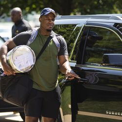 Chicago Bears' defensive tackle Nick Williams #97 arrives for training camp at Olivet Nazarene University in Bourbonnais, Thursday afternoon, July 25, 2019.