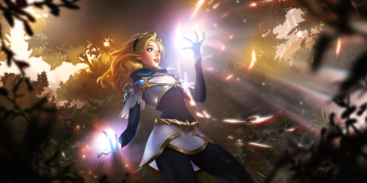 Lux, one of the starter Champions on Legends of Runeterra.
