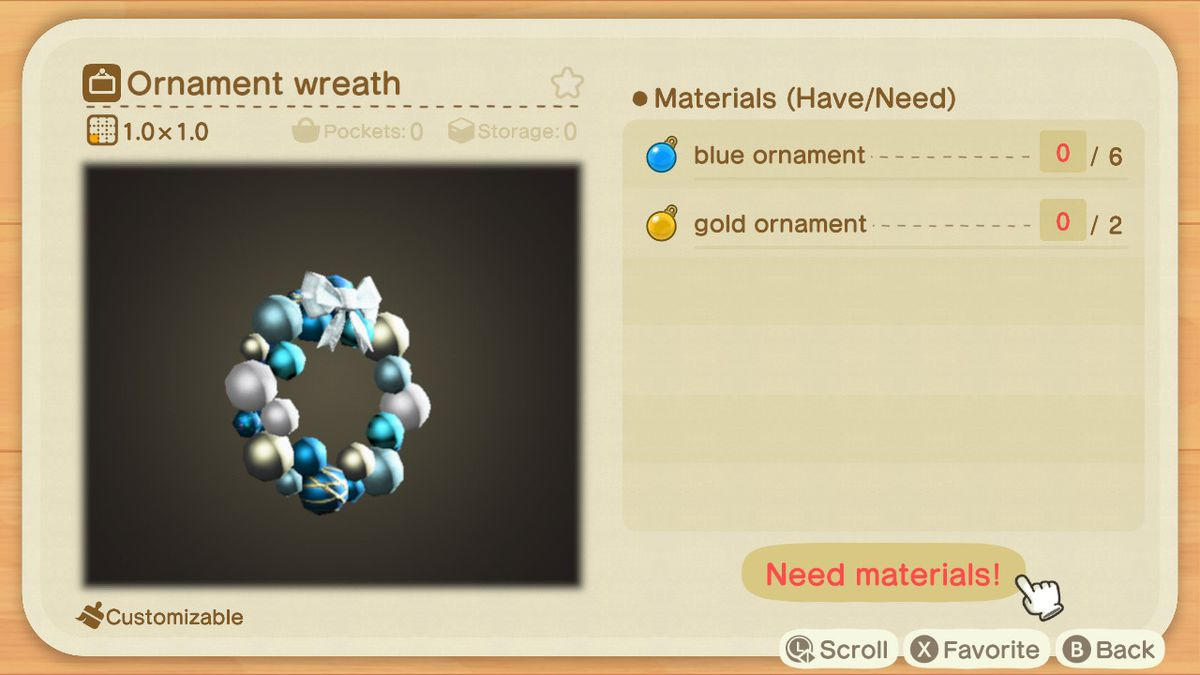 An Animal Crossing recipe for an Ornament Wreath