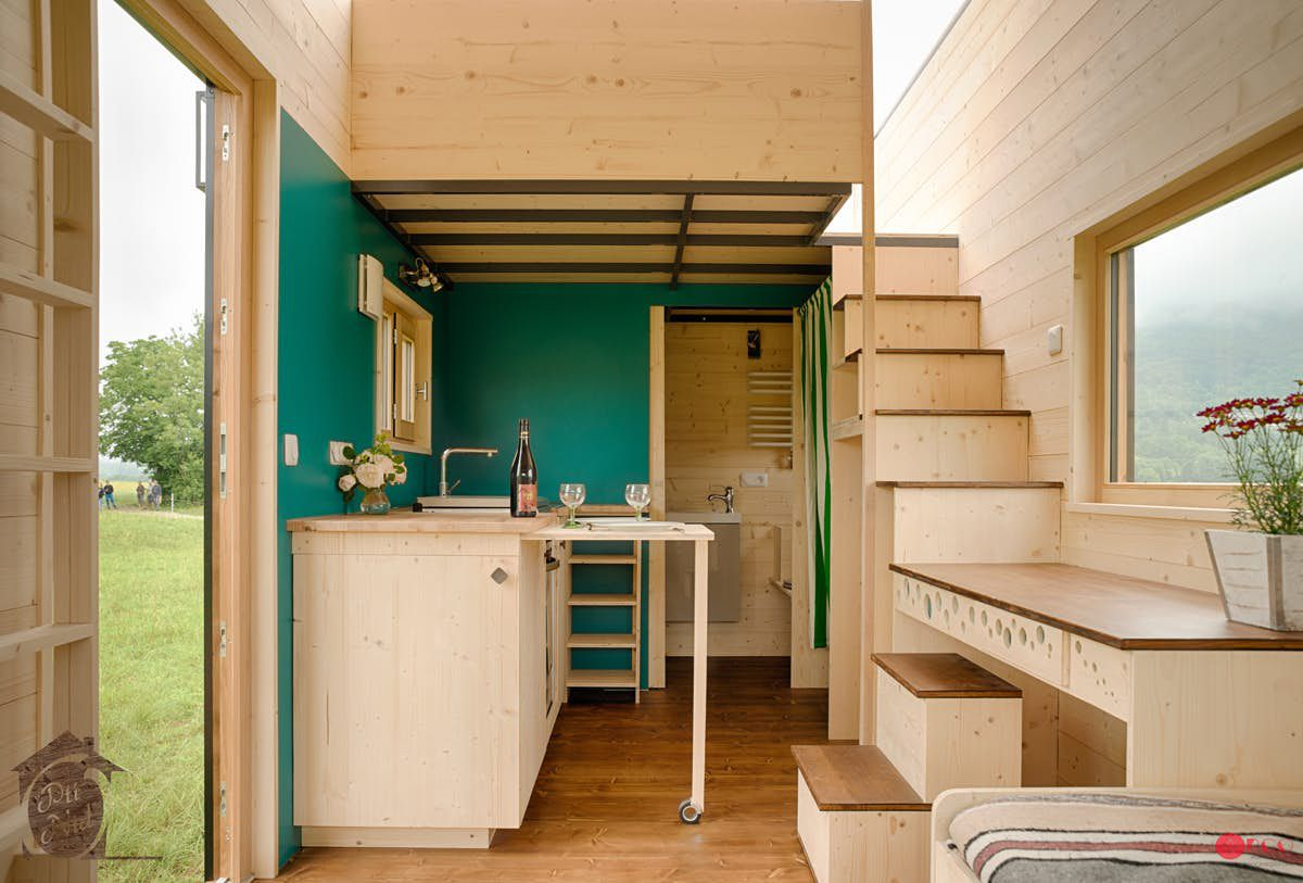 Stairway leading to lofted bedroom