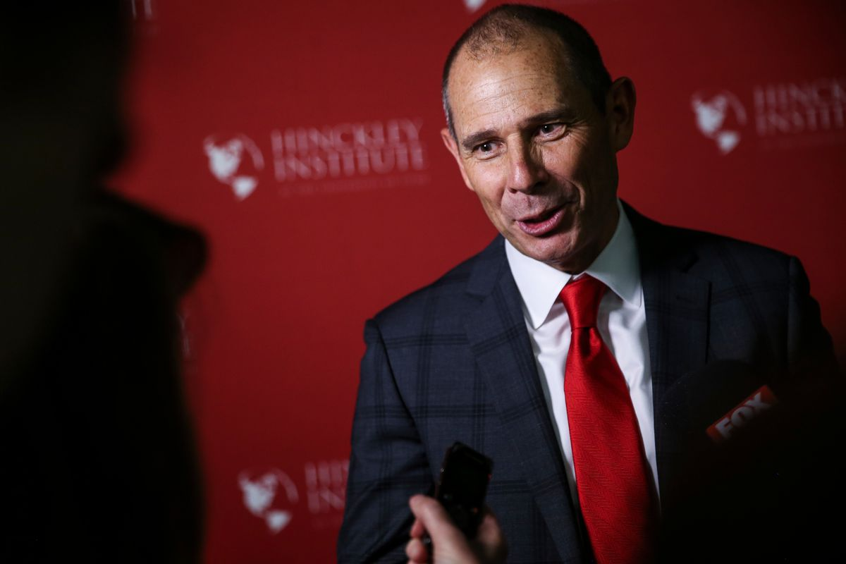FILE - John Curtis talks to reporters after the Republican debate for the 3rd Congressional District race at the Utah Valley Convention Center in Provo on Friday, July 28, 2017. Rep. John Curtis, R-Utah, has announced Lorie Fowlke, longtime Utah attorney