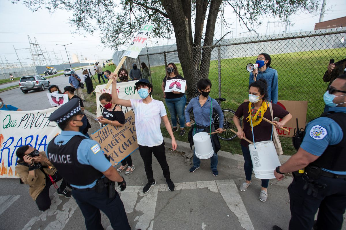 Protesters outside of the Crawford Power Plant in Little Village, Friday, June 5th, 2020.