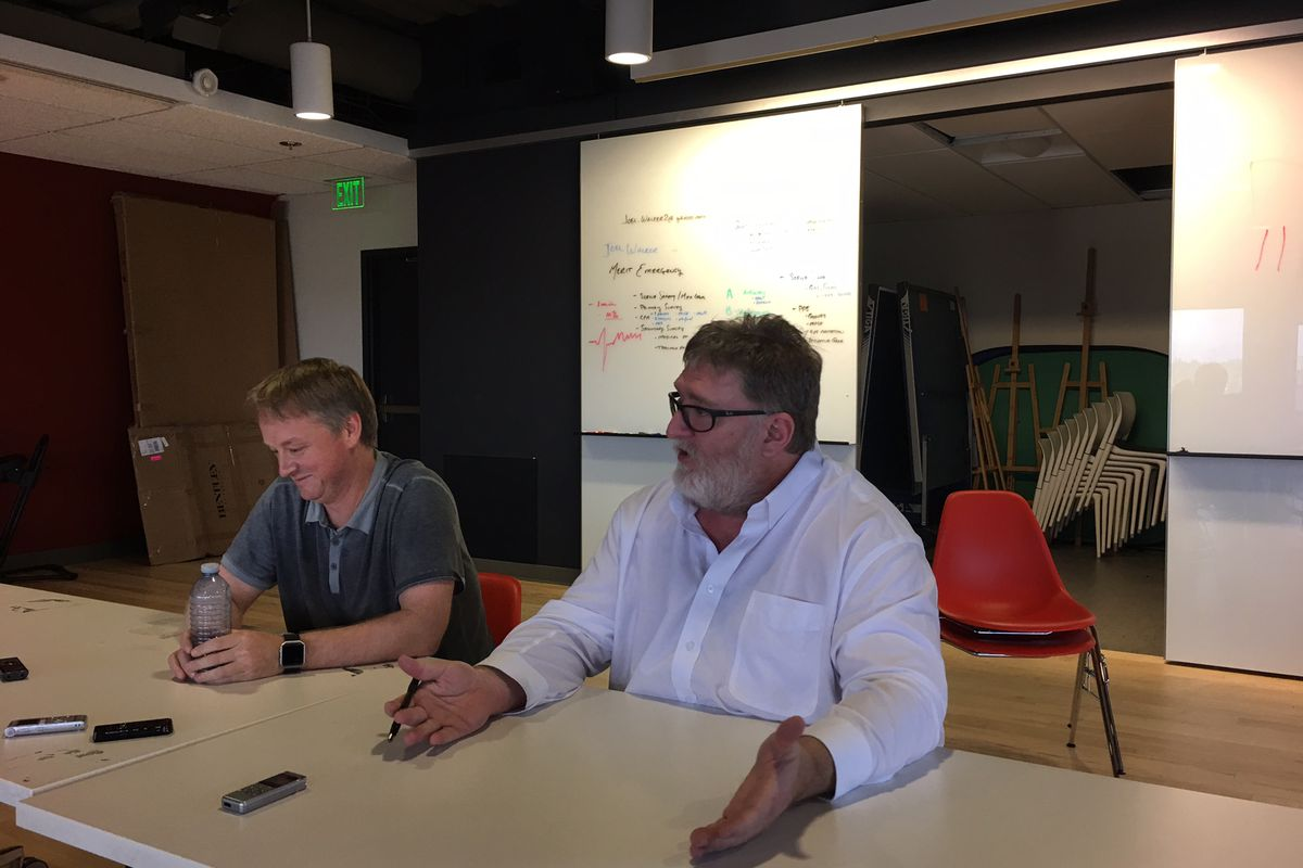 Gabe Newell Right With Valve Colleague Erik Johnson Polygon