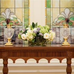 Floral patterns can be found in the Provo City Center Temple, including art glass featuring the lotus flower common in religious buildings throughout the world.