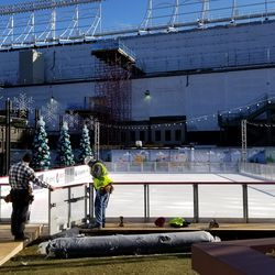 Completion of setup of the ice rink