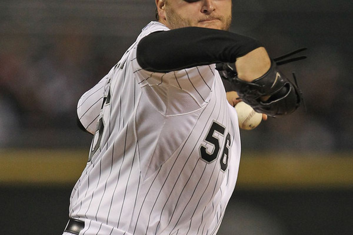 Starting pitcher Mark Buehrle of the Chicago White Sox.  (Photo by Jonathan Daniel/Getty Images)