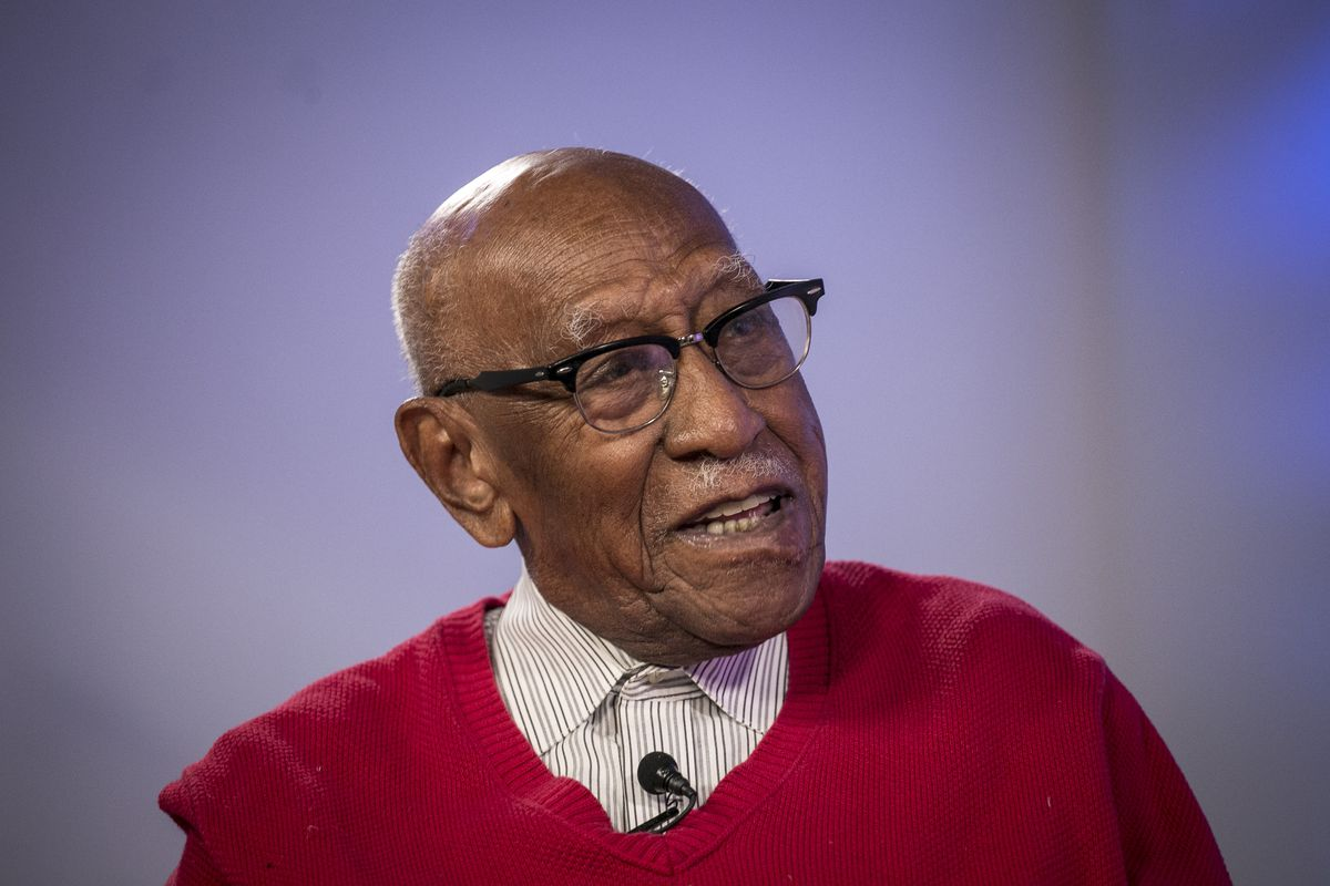 Timuel Black in 2018, when he was interviewed on his 100th birthday.