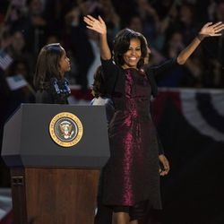 In <b>Michael Kors</b> at Obama's victory speech in Chicago, Illinois on November 6, 2012