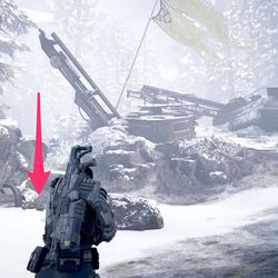 Krav's Locust tag is on the corpse to the left of the flag