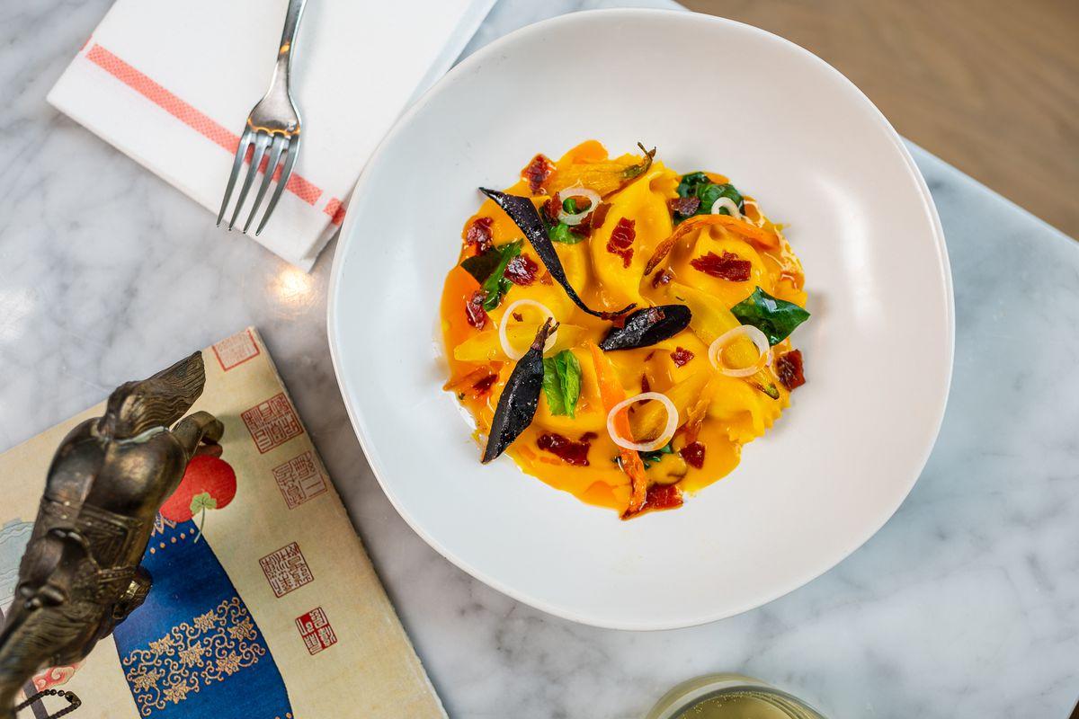 Carrot agnolotti from the new menu at ABC Pony