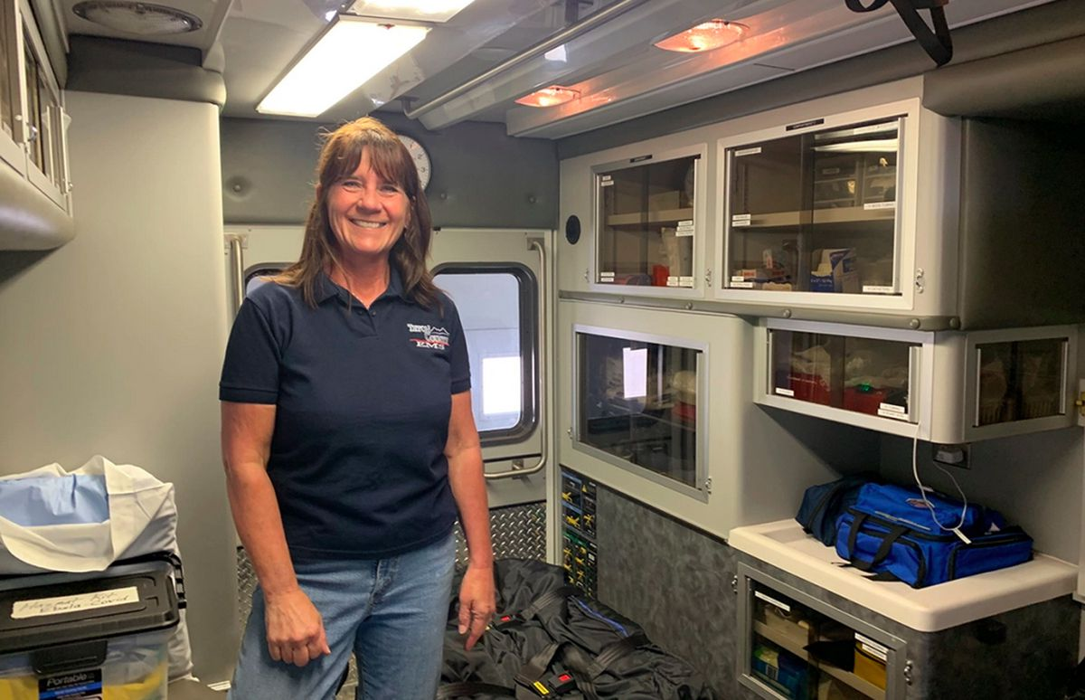 Dutton EMS Crew Chief Colleen Campbell at the Dutton ambulance barn.