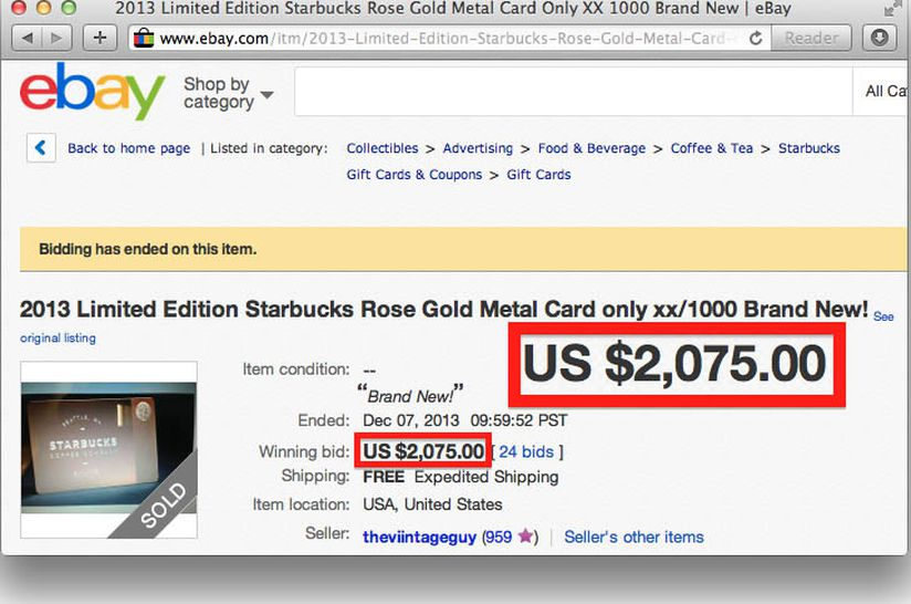 Starbucks 450 Metal Gift Cards Are Selling For Over 2 000 On Ebay Eater