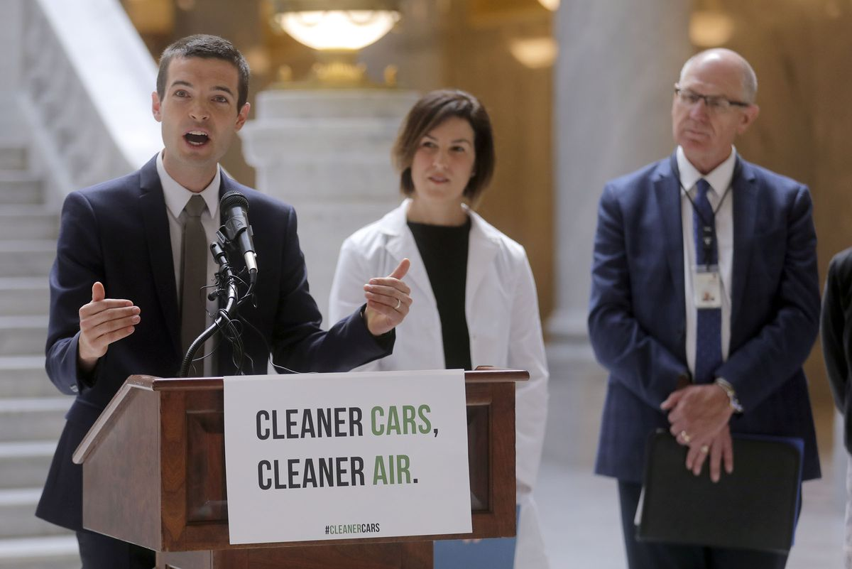 Ben Abbott, assistant professor of ecosystem ecology at BYU, speaks during a press conference in opposition to the Environmental Protection Agency's proposed rollback of America's clean car standards at the Capitol in Salt Lake City on Wednesday, Aug. 28, 2019.