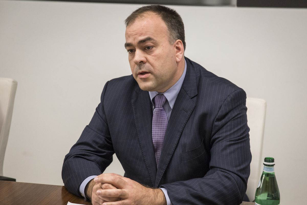 Cook County Assessor Fritz Kaegi talks to the Sun-Times editorial board last year.