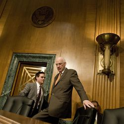 Utah Senator Robert F. Bennett arrives to the committee on banking for a meeting with the nation's top mortgage companies in the Dirksen Senate Building on Tuesday November 16, 2010, in Washington, D.C.