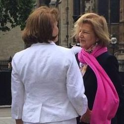 The Right Honourable Baroness Emma Nicholson of Winterbourne, right, greets LDS Charities director Sharon Eubank before Eubank spoke to a UK Parliamentary group at the House of Lords in London on Wednesday. LDS Charities engages in joint relief projects in the Middle East with the AMAR Foundation, which the baroness founded and chairs.