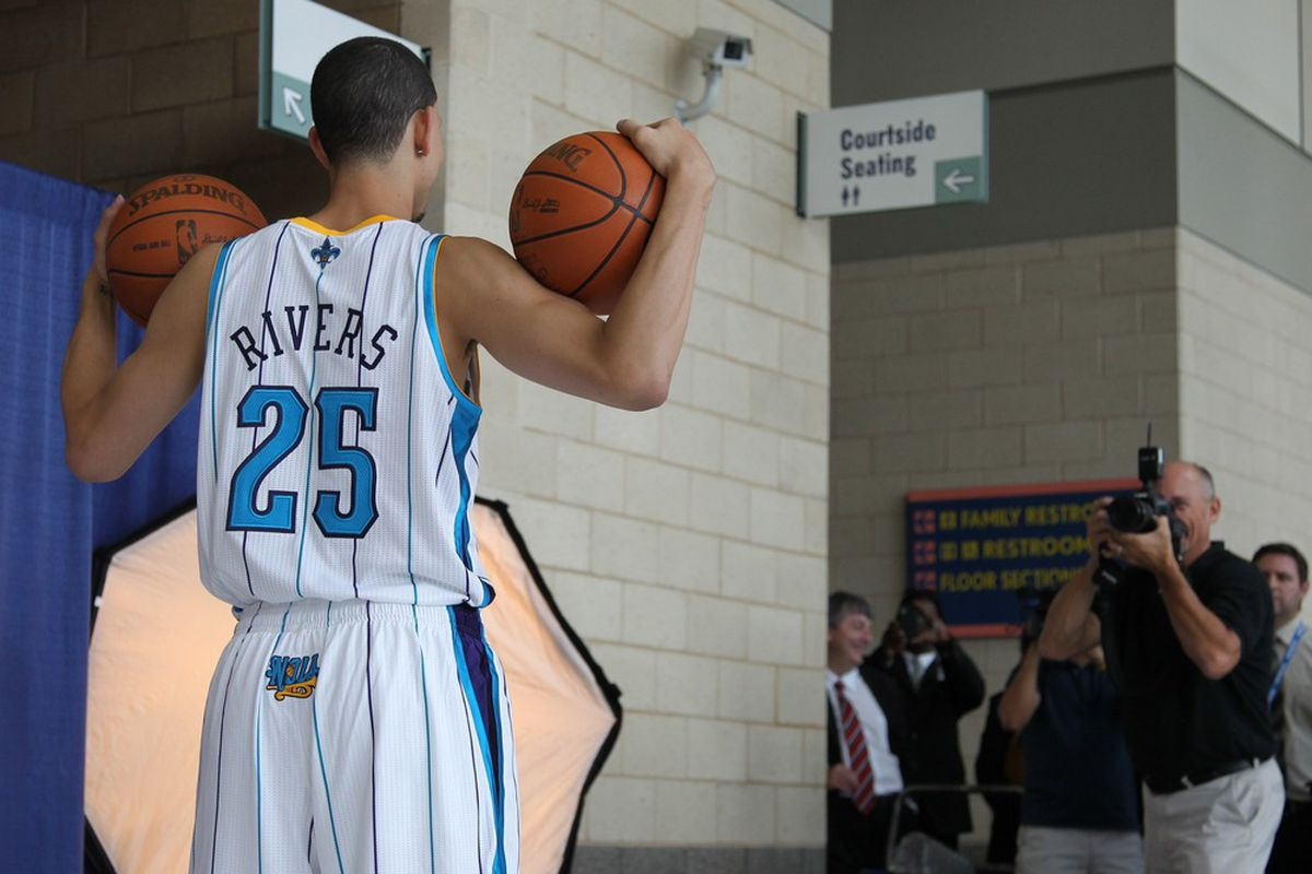 June 29, 2012; New Orleans, LA, USA; New Orleans Hornets first round selection Austin Rivers during a photo shoot with team photographer Layne Murdoch at the New Orleans Arena.  Mandatory Credit: Derick E. Hingle-US PRESSWIRE