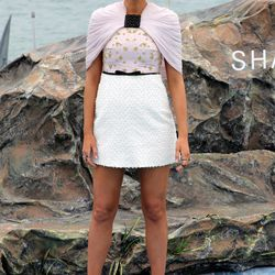 Blake Lively wears Giambattista Valli at a photo call for 'The Shallows.'