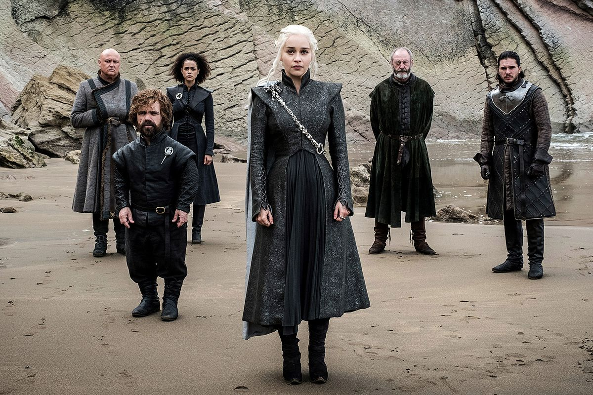 Emilia Clarke, Kit Harrington, Liam Cunningham, Conleth Hill, Nathalie Emmanuel and Peter Dinklage in Game of Thrones set