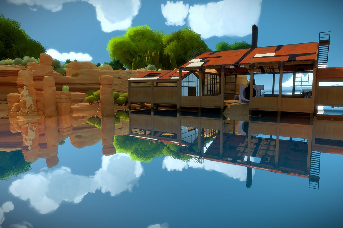 The Witness - sandstone and boathouse