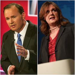 FILE — Mike Lee and Misty Snow debate Wednesday, Oct. 12, 2016.