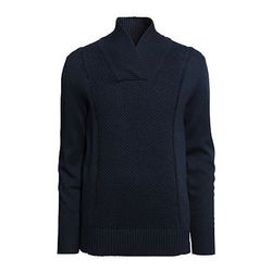 """<strong>H&M</strong> Shawl Collar Sweater in Blue, <a href=""""http://www.hm.com/us/product/14555?article=14555-A"""">$34.95</a>"""