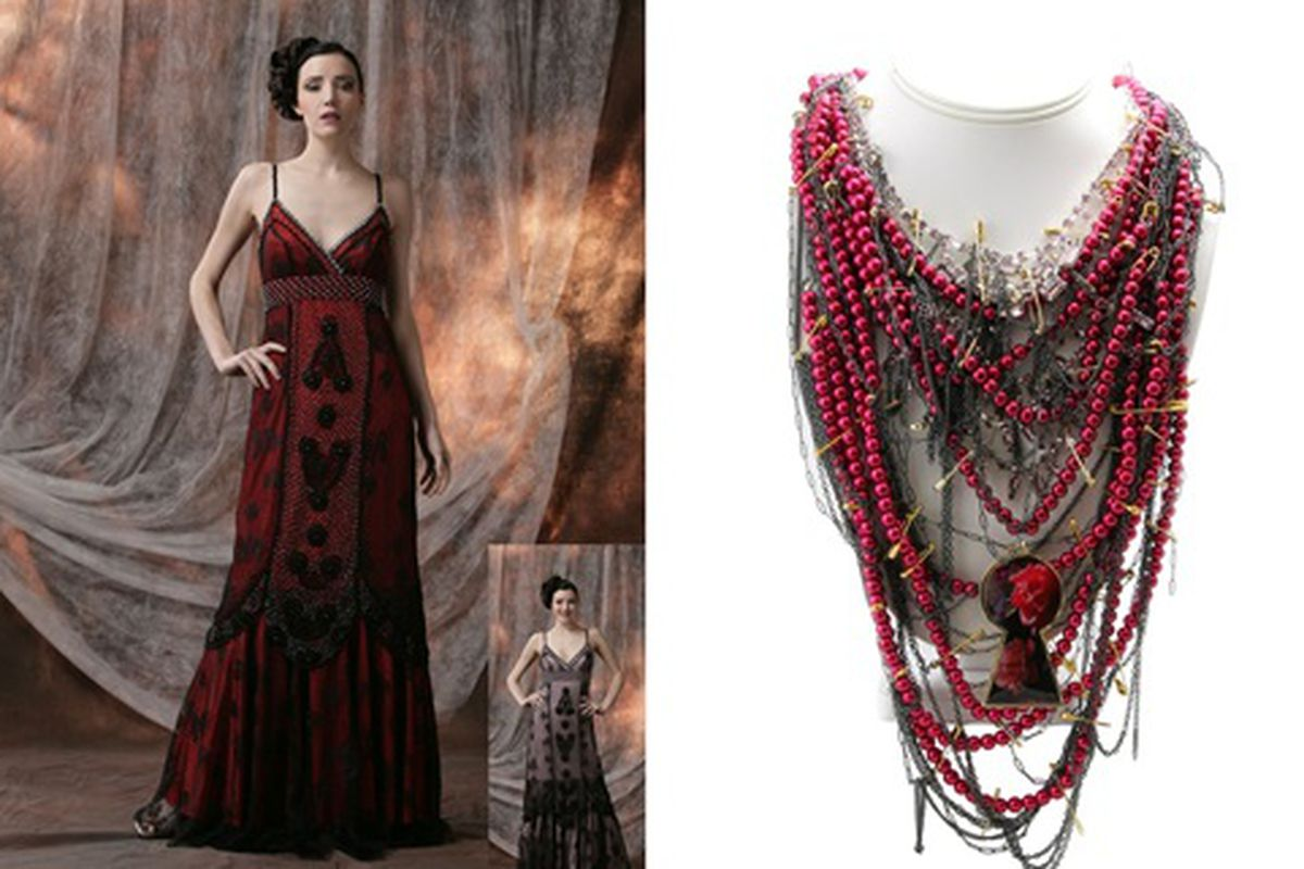 """Sue Wong dress and Tom Binns necklace via <a href=""""http://disnology.com/2010/01/disney-launches-alice-in-wonderland-inspired-fashions/"""">Disnology</a>"""