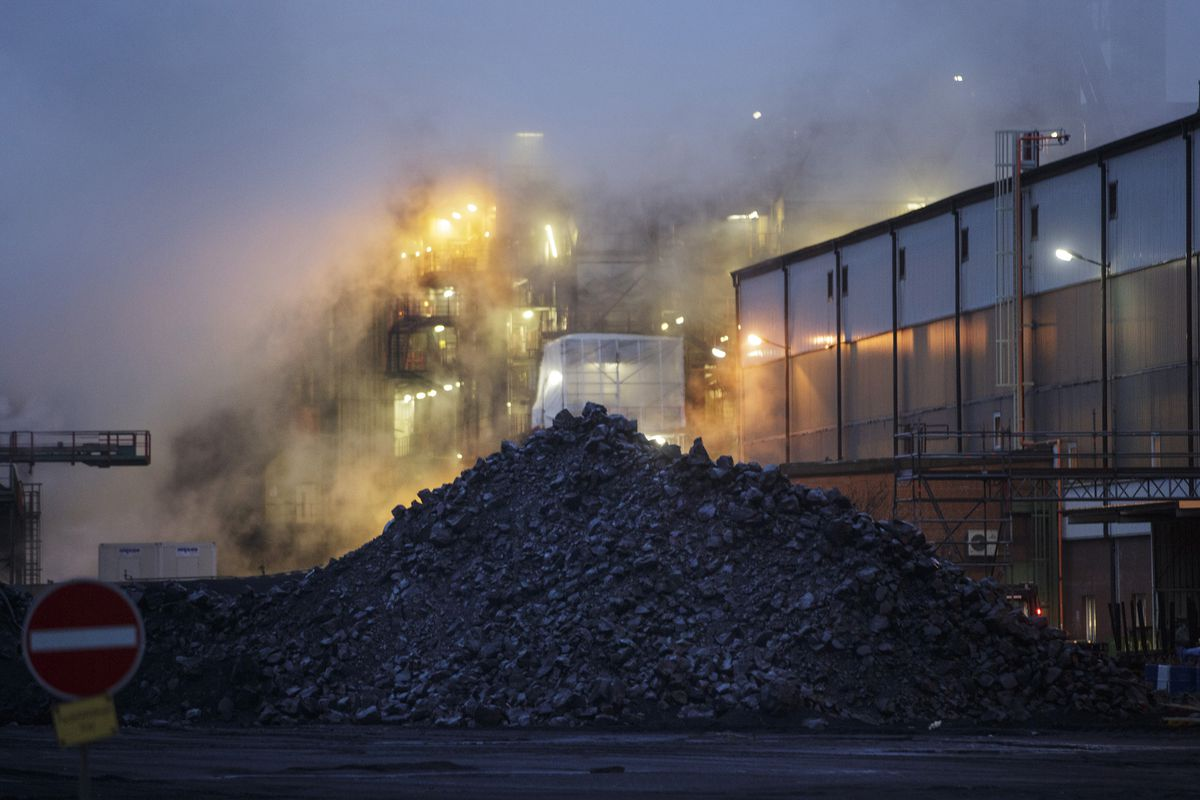Pile of hard coal in front of an industrial plant on December 04, 2013, in Hamburg, Germany.
