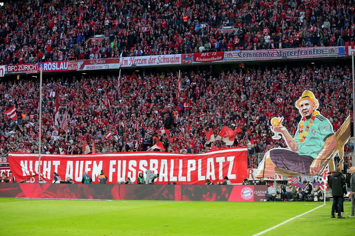 MUNICH, GERMANY - APRIL 06: Supporters of Muenchen shows a banner during the Bundesliga match between FC Bayern Muenchen and Borussia Dortmund at Allianz Arena on April 06, 2019 in Munich, Germany.