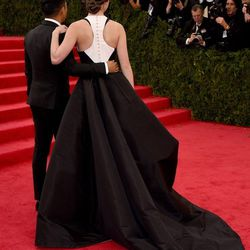 The buttoned-up back of Hailee's dress, with designer Prabal Gurung
