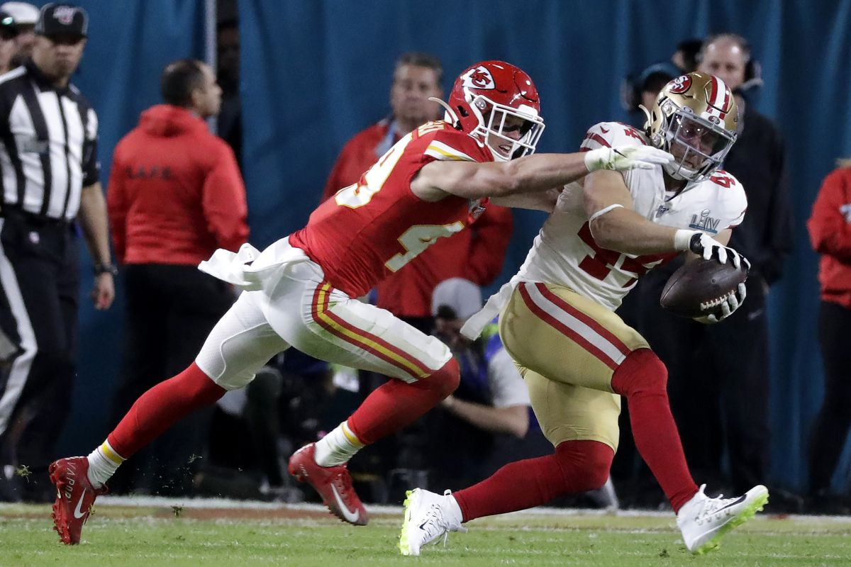 Kansas City Chiefs safety Daniel Sorensen defends a pass intended for San Francisco's Kyle Juszczyk during Super Bowl 54.