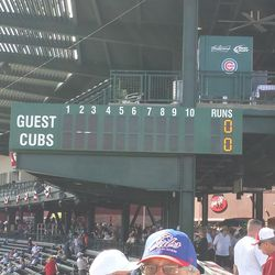 ICYMI in the previous post, there's no ball/strike/out indicators here. The Cubs say they'll get that fixed
