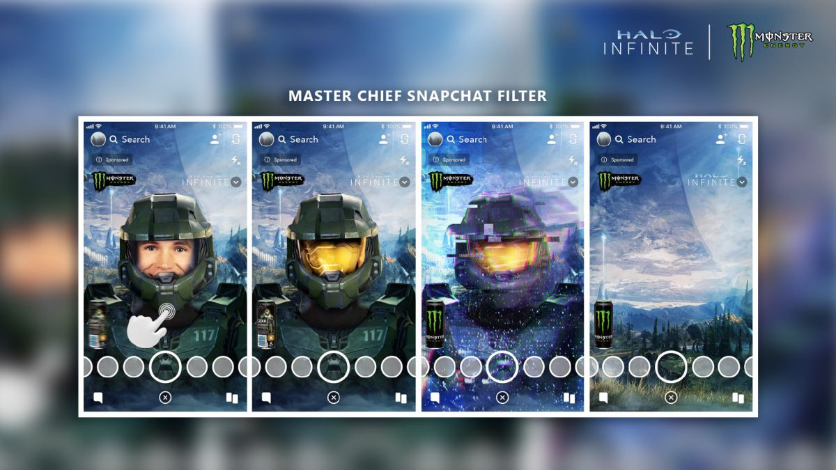Snapchat filter that turns the user into Master Chief