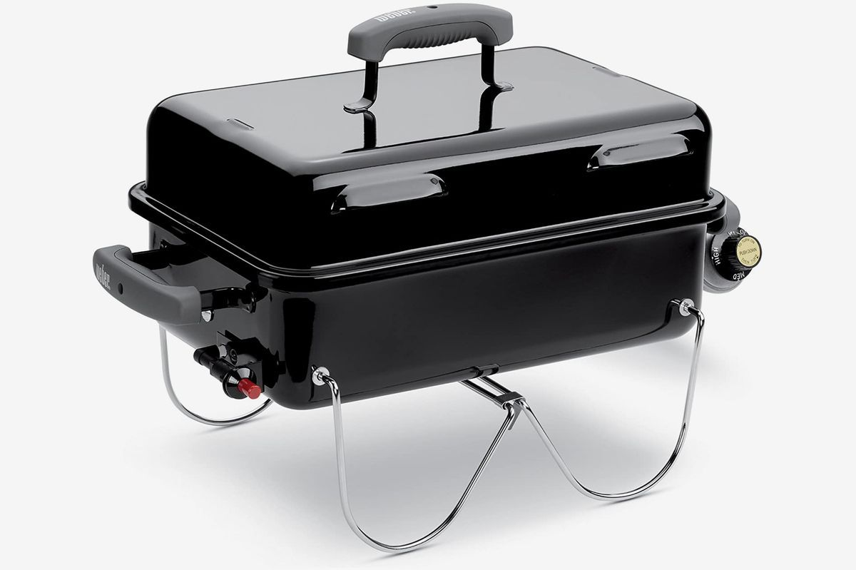 A black Weber portable grill