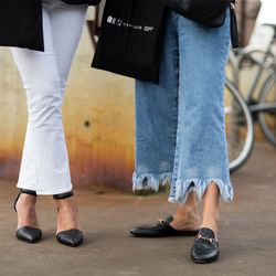 Cropped flares worn two very different ways. Also, more Gucci slides in Australia.